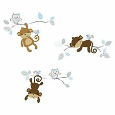 Mod Monkey Wall Appliques Decals Decor Removable Nursery Kids Room Baby New