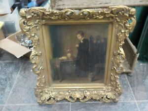 Edwin Hughes (1842-1922) Oil Painting on board Signed dated 1871 gold frame