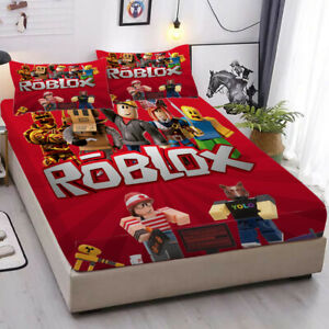 ROBLOX Deep Pocket Fitted Sheet 3PCS Set Soft Cotton Bed Sheet Pillowcases Gifts