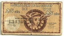 GUERRA CIVIL (NOTGELD) 25 CÉNTIMOS DE 1937 (RC) ROTURAS