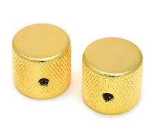 """(2) Gold Vintage Barrel Knobs for Tele® & P Bass® 1/4"""" Solid Shaft MK-0115-002"""