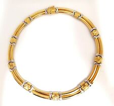 18kt Gold Byzantine Deco Link Necklace Two toned