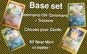 Near Mint Base Set Pokemon Cards. Uncommon, Common, Trainer. Choose your cards!