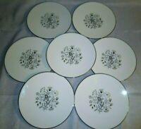 """7 Vtg Flintridge Woodsong 6 3/8"""" Bread Plates Coupe Floral Center Platinum EUC"""