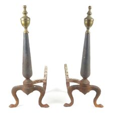 Antique fireplace andirons cast iron brass finials Queen Anne pad feet hearth