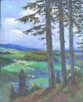 """tableau huile panneau - paysage vers 1920   - signée F Ehrlich  """" """""""