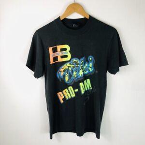 VINTAGE 1980s Hot Buttered Tiki Surfing Comp Black Neon Single Stitch T-Shirt SM