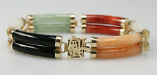 14 Kt Yellow Gold Multi-Color Jade Bracelet