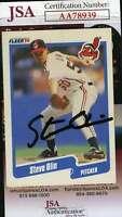 Steve Olin 1990 Fleer Rookie Jsa Coa Hand Signed Authentic Autograph