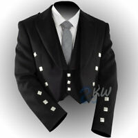 MENS BLACK COLOR PRINCE CHARLIE 3 BUTTON WAISTCOAT 100/%  SERGE WOOL