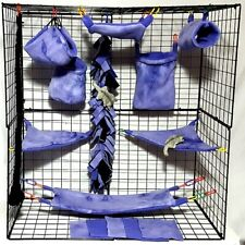 Purple Tie Dye *15 Pc Sugar Glider Cage set * Rat * double layer Fleece