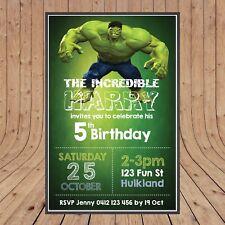 Personalised INCREDIBLE HULK Kids Party Birthday Invites Invitations YOU PRINT