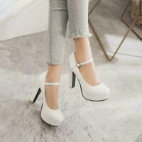 Womens Leather Round Toe Block Heels Ankle Strap OL Casual Mary Jane Shoes New