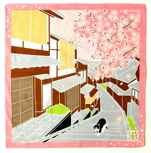 Sakura Cherry Blossom with Cat Japanese Cotton Furoshiki Wrapping Cloth TB66