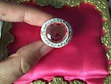 Betsey Johnson Vintage White Rose Bud Rosebud Pink Crystal Class Ring VERY RARE