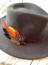 Feather pin for mans trilby fedora german swiss porkpie hat Yellow orange bnwt