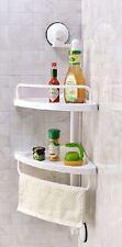 NEW White 2 Tier Corner Shelf Shower Caddy Bathroom Rack Organiser Suction Cups