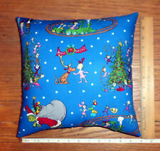 New The Grinch Pillow + The Whos Christmas Small Blue - Handmade in the Usa