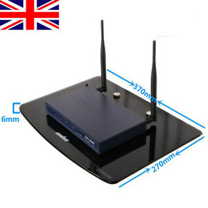 UK Floating Glass Shelf Stand Wall Mount Bracket for TV Box DVR DVD Cable Black