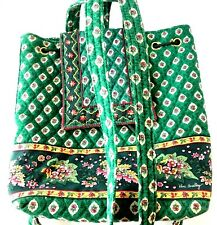 Vera Bradley Bag Greenfield Drawstring Backpack Retired Green & Floral Purse