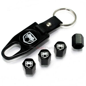 Dodge Viper Logo Black Tire/Wheel Stem Air Valve CAPS & Wrench Key Chain set