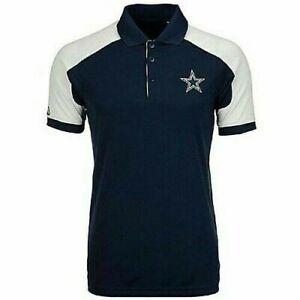 Dallas Cowboys Navy and White Century Golf Polo Shirt, Medium