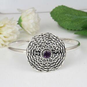 Handmade Weaving Wire Oxidized 925 Silver Amethyst Gemstone Cuff Bracelet