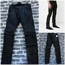 Rare & Great Balmain AW15 Solid Black Leather-Trimmed Panelled Waxed Biker Jeans