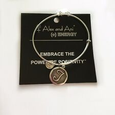 "NEW Alex and Ani Bangle Charm Bracelet Letter Initial ""T""  Rafaelian Silver"