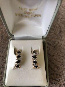 18ct Gold on Silver Diamond & Sapphire Earrings