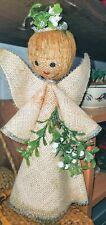 Vintage Burlap Folk Art Angel Christmas Tree Topper