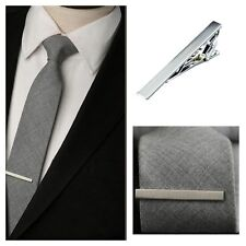 Metal Silver Tie Clip Bar Necktie Clasp