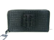 TOMMY HILFIGER Womens Zip Around Wallet Jacquard Faux Leather USA Black New NWT