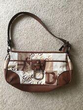 Etienne Aigner Signature Logo Canvas Leather Handbag  With Strap Brown Tan color