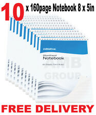 """10 x 160 Page Premium Notepad Notebook Shorthand Pad 8"""" x 5"""""""