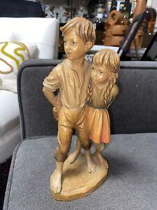 """Vintage Goldscheider Wood ITALY HAND CARVED Children Hiding Bread 10"""" Figurine"""