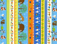Woodland Animal Fabric - Deer Bear Squirrel Stripe - Timeless Treasures YARD