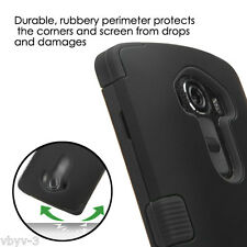 For LG G4 Hybrid ShockProof Rugged Rubber TUFF Hard Protective Case Cover BLACK