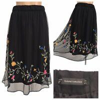 ZARA Trafaluc Bohemian Black Floral Embroidered Mesh Overlay Midi Skirt Size M
