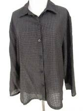 Eileen Fisher Shirt Large Gray Textured Button Down Top Long Sleeve Viscose Wool