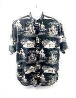 Bit and Bridle Mens XL Cowboy Print Western Short Sleeve Button Down Black Shirt