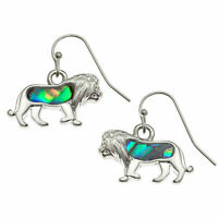 Lion Earrings Abalone Paua Shell Leo Womens Silver Fashion Jewellery 20mm Drop