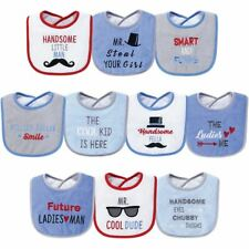 Hudson Baby Unisex Cotton Terry Drooler Bibs One Size Handsome Eyes
