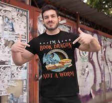 Men's Funny Geek T Shirt Book Dragon Shirt Reader Shirts Reading Shirt Geek Shir