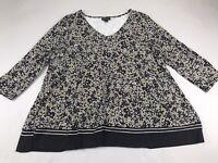 J Jill J. Jill Wearever Large L 3/4 Sleeve Top Blouse Shirt Floral Taupe Black