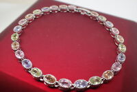 18K White gold GF Solid Oval Colorful Gemstone Women's bracelet 7' 18cm