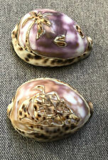Vintage Hand Carved Cowrie Shell Set 2 Pirate Ship & Tropical Island