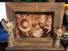 St. Nicholas Wood Frame with 1 Gold Angel & 1 Silver Angel 5x7