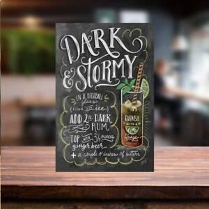 Dark & Stormy COCKTAIL RECIPE METAL SIGN Bar Cafe beer garden man cave tiki bar