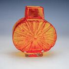 Whitefriars Tangerine Starburst Pattern Glass Vase - By Geoffery Baxter